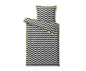"""Pościel """"Zigzag"""", biało-czarna z żółtą lamówką"""