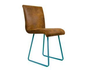 """Krzesło """"Organique Vol. 1"""", brązowe na turkusowych płozach"""