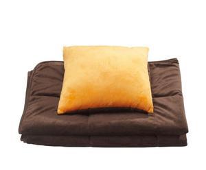 """Komplet 3 w 1: poduszka, koc, poszewka """"Mark Trend"""", pomarańczowo-brązowy"""