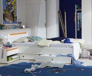 """Łóżko młodzieżowe """"Bibi"""", biało-pomarańczowe"""