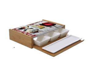 """Komplet miseczek i podstawki na przystawki z deską do krojenia """"Comese"""""""