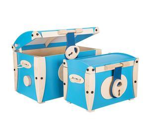 """Komplet 2 kuferków """"Gippo"""", niebieski"""