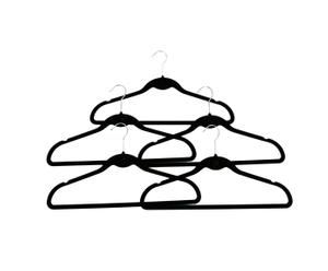 Set of five Velvet suit hangers - black