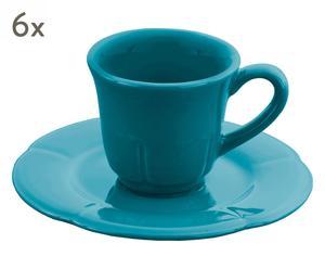"Komplet 6 filiżanek ze spodkami ""Espresso Blue"""
