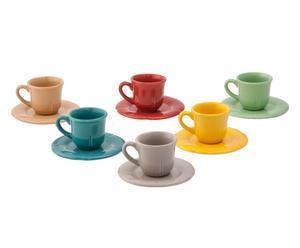 "Komplet 6 filiżanek ze spodkami ""Espresso Multicolor"""