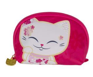 """Kozmetická taštička """"Mani Lucky Cats Red"""", 6 x 18 x 13 cm"""