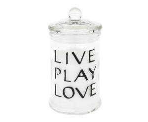 """Sviečka """"Live Love Play"""", ø 8, výš. 15 cm"""