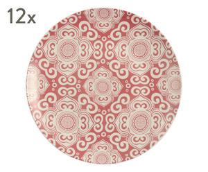 """Sada 12 plytkých tanierov """"Etnochic Bordeaux"""", ø 26,5, výš. 3 cm"""