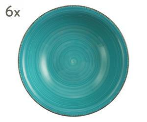 """Sada 6 hlbokých tanierov """"Baita Turchese"""", Ø 21,5, výš. 6 cm"""