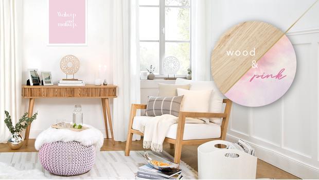 Ideální duo: dřevo a růžová