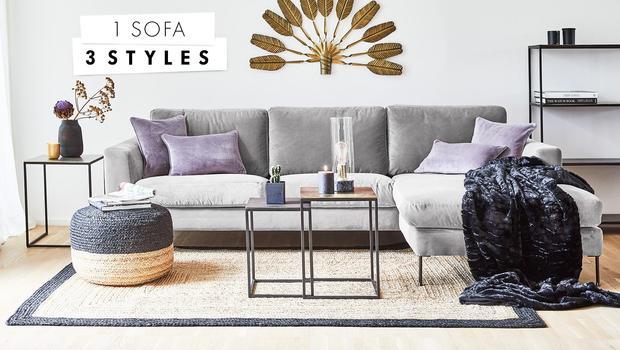 1 Sofa, 3 Styling-Ideen