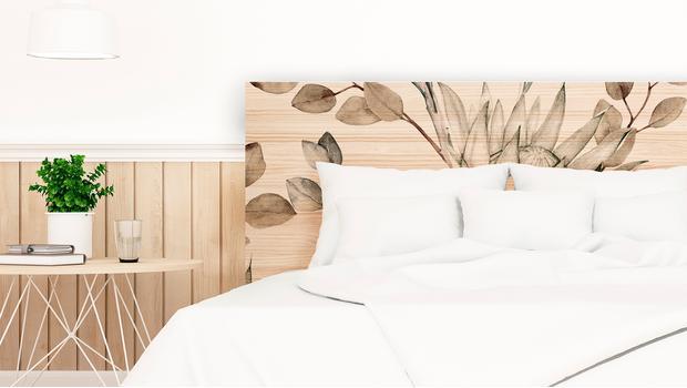 Cabeceros de madera y cuadros