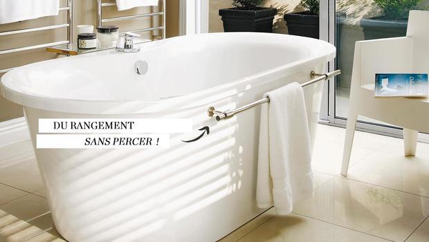 Une salle de bains rangée