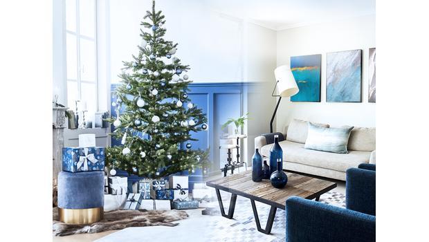 Blue & natural wood