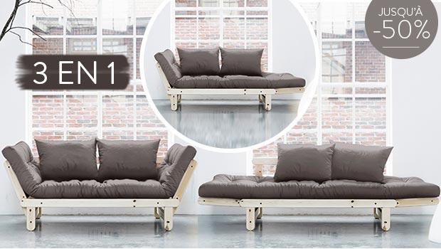fauteuil sofa futon canapé chauffeuse lit convertible Karup