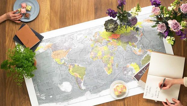 Cartes du monde plastifiées