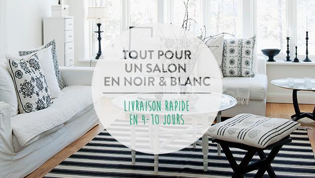 Salon Noir Dore Blanc Argente Coussins Luminaires Petite