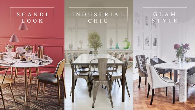 Eén eetkamer, drie stijlen