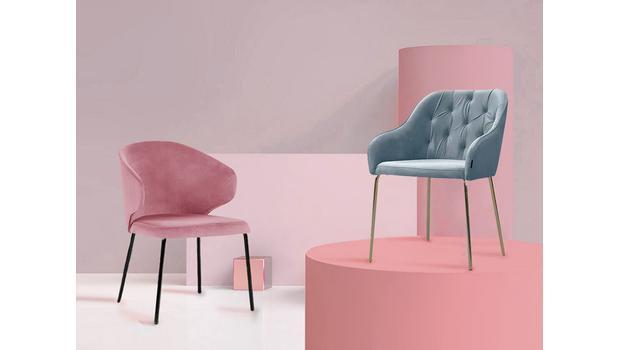 Velvet & metal chairs