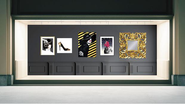 Butik s nástennými dekoráciami