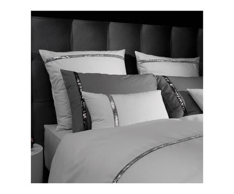 2c7388867f689 ... Taie d'oreiller LIZ percale de coton, blanc et argenté - 65*65 Vérifier  la disponibilité ...
