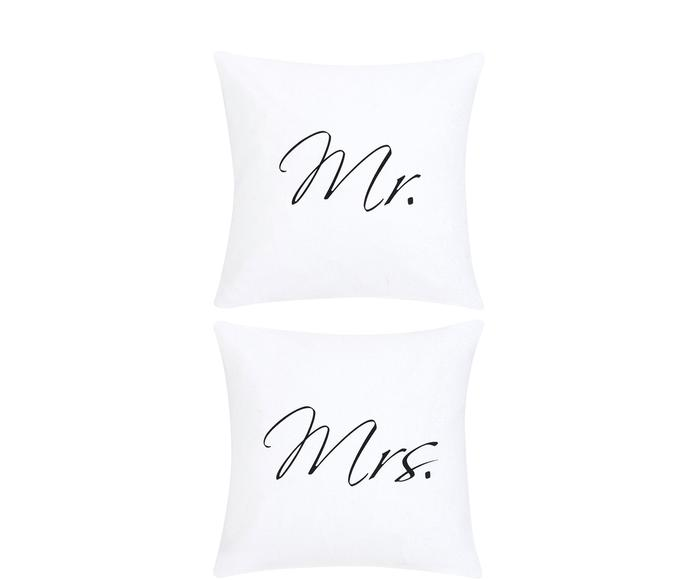 Set de 2 fundas de cojín Mr&Mrs