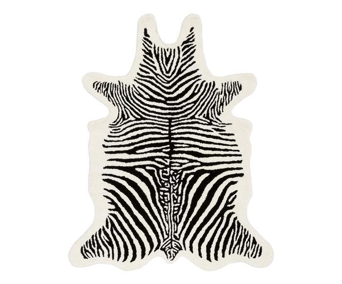 Tappeto in lana taftato a mano Savanna Zebra