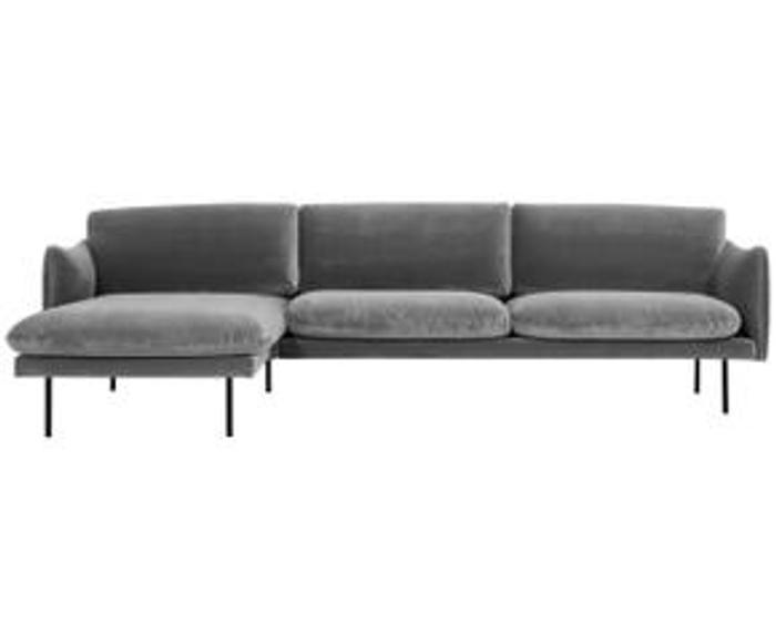 Sofá rinconero de terciopelo Moby, An 280 x F 160 cm