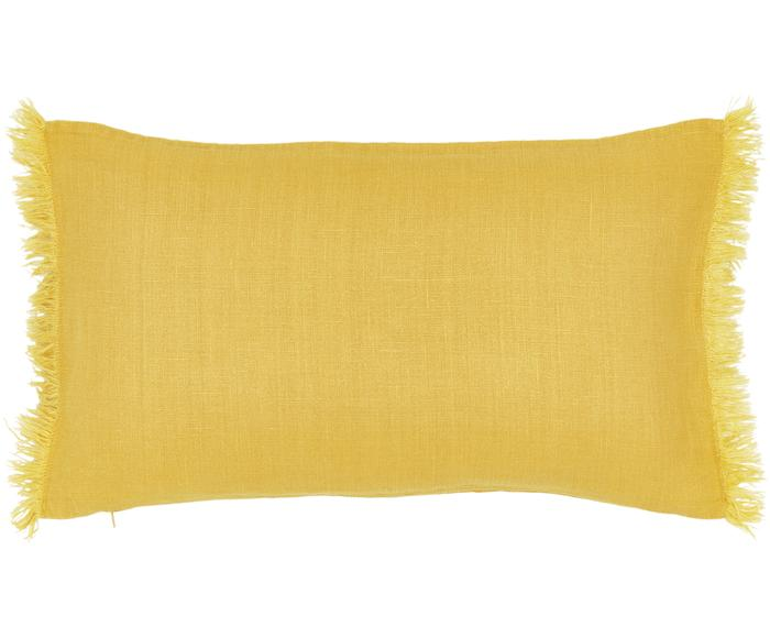 Funda de cojín de lino con flecos Luana, 30 x 50 cm