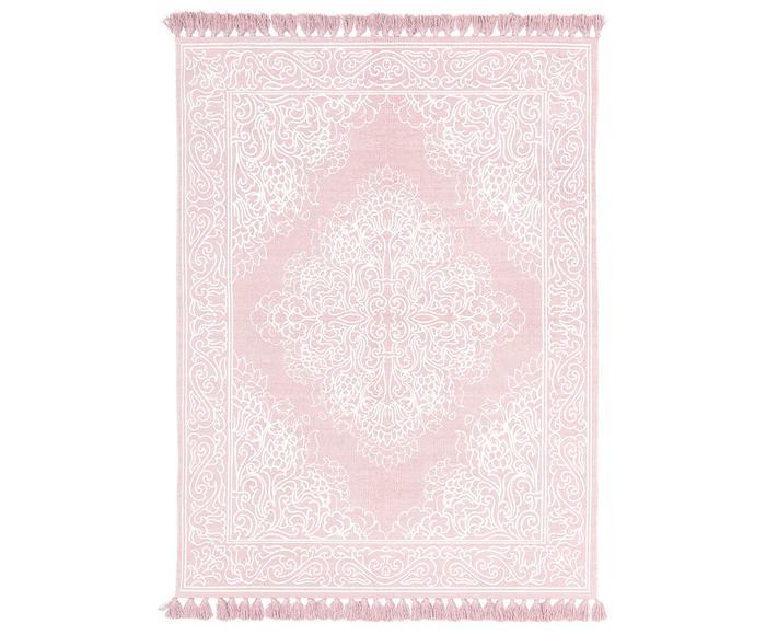 Alfombra artesanal de algodón con borlas Salima