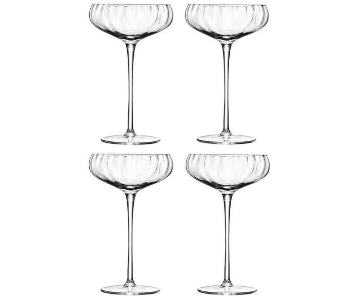 Set van 4 handgemaakte champagneglazen Aurelia