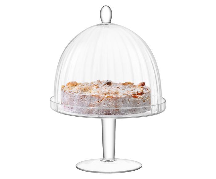 Handgemaakte taartplateau Aurelia met voet en glazen stolp