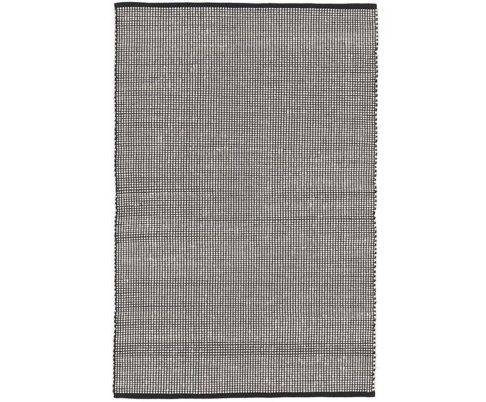 Tappeto rotondo in lana color nero/crema tessuto a mano Amaro