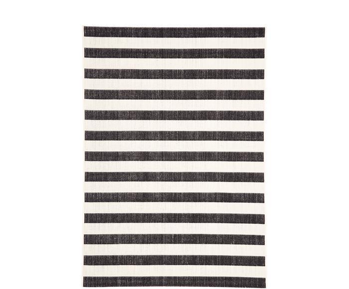 Tappeto nero/bianco a righe da interno-esterno Axa, 120x170 cm