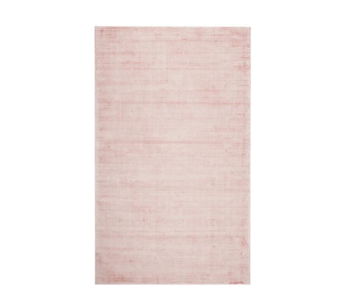 Tapis rose en viscose tissé main Jane, 90 x 150 cm