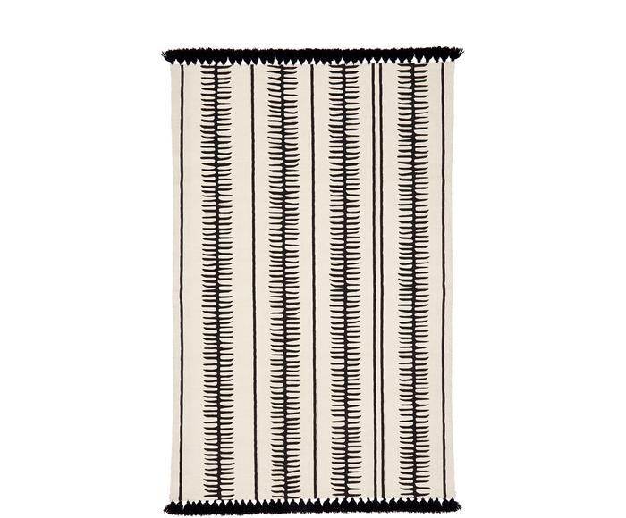 Tappeto in cotone beige/nero tessuto a mano con nappe Rita, 50x80 cm