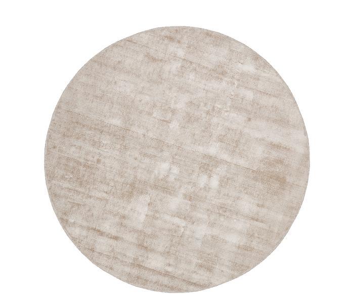 Tappeto rotondo in viscosa beige tessuto a mano Jane, d 150 cm