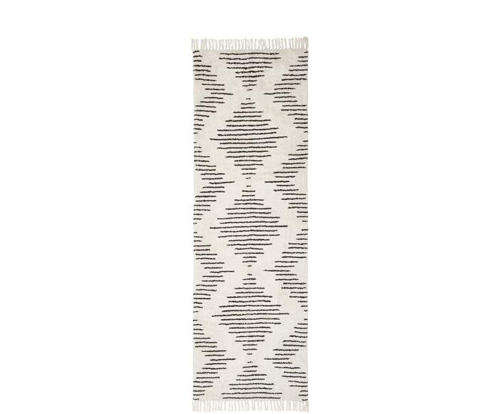 Passatoia boho in cotone beige/nero tessuta a mano Lines, 80x250 cm