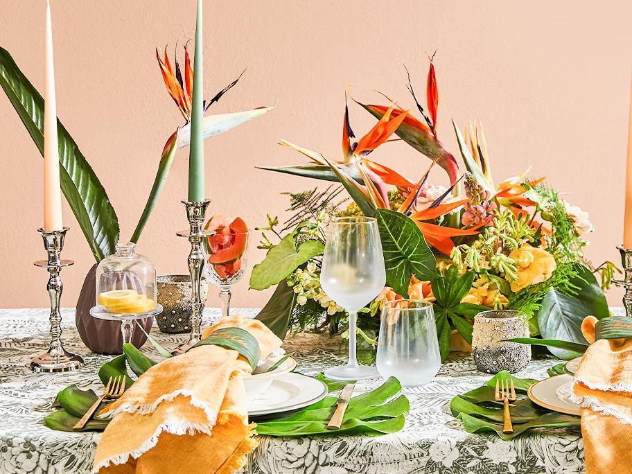 Tropische Tisch-Deko