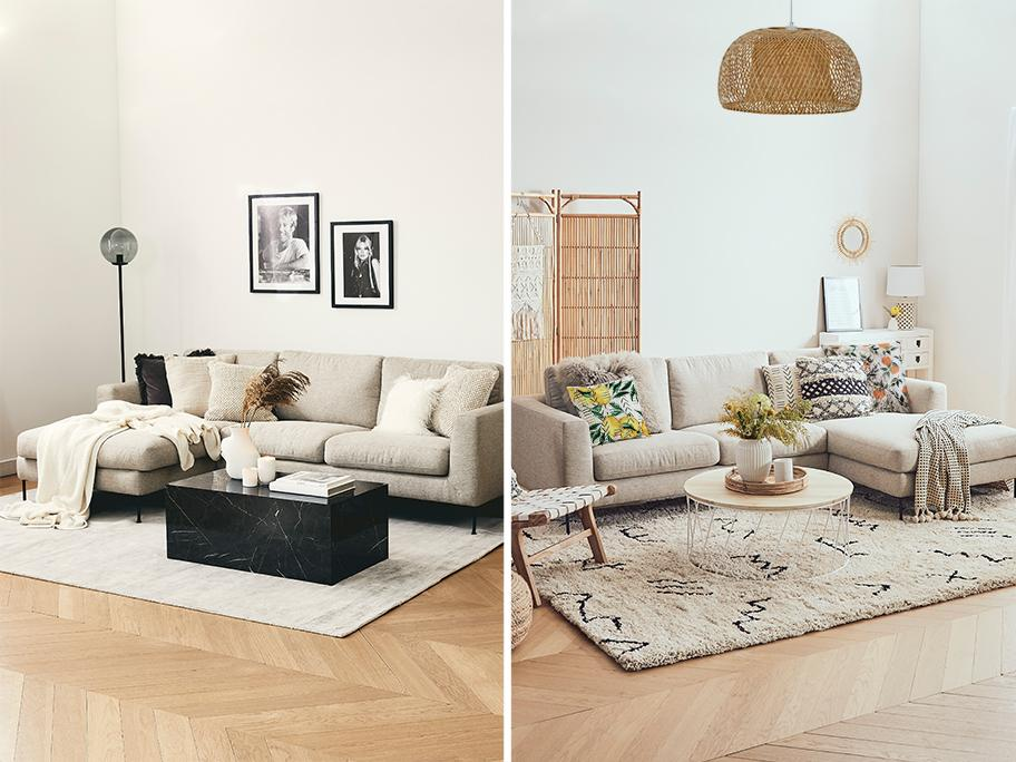 Szara sofa: Minimal vs. Boho