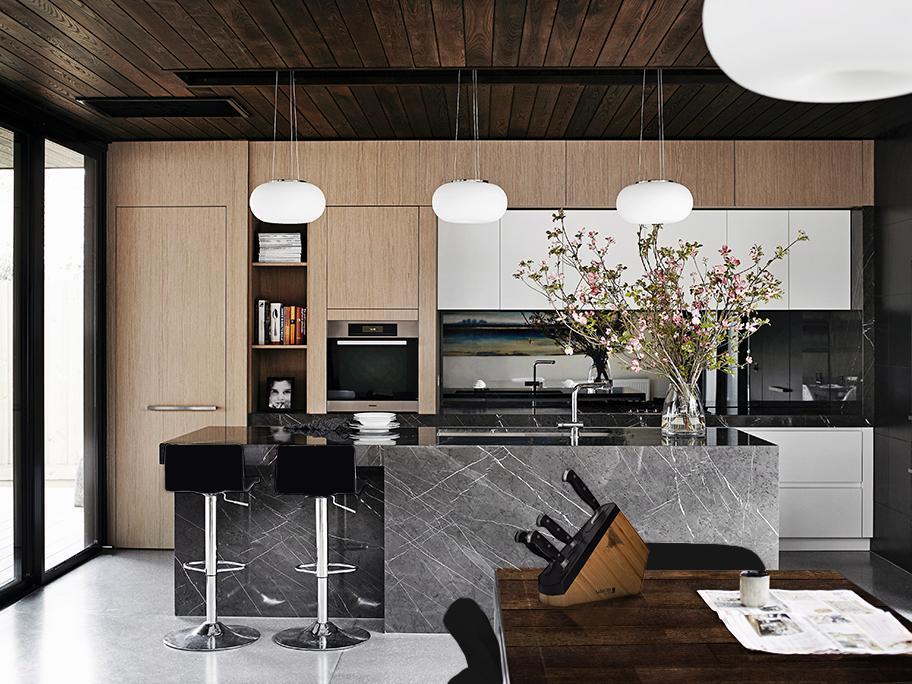 Czerń + Drewno = Modna kuchnia