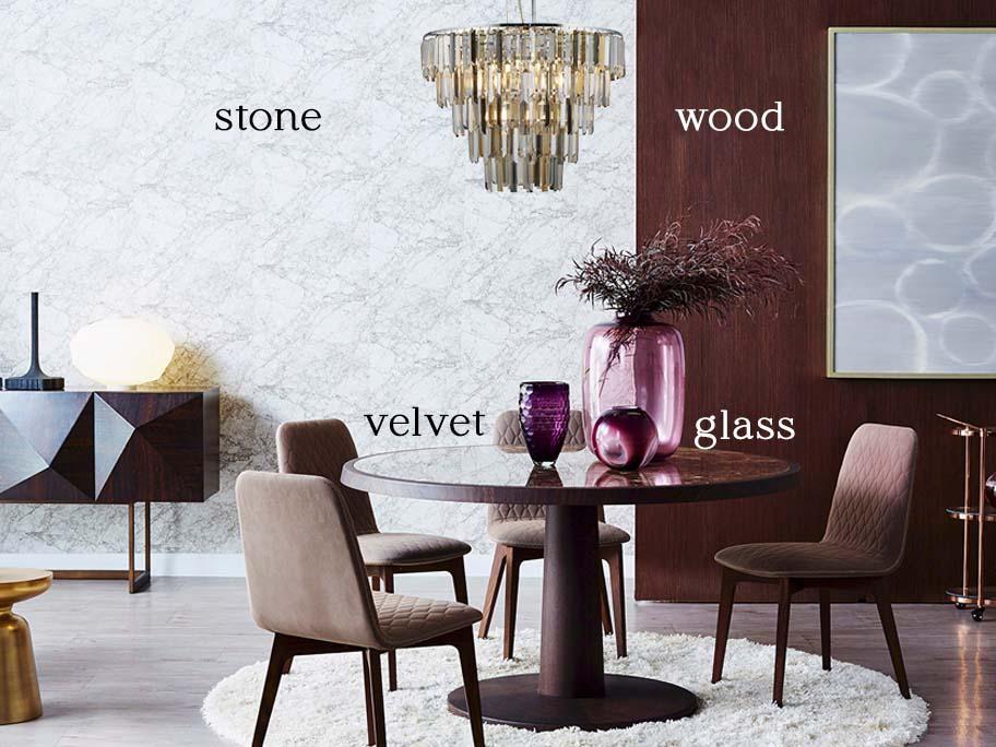 Glass, Wood, Velvet & Stone
