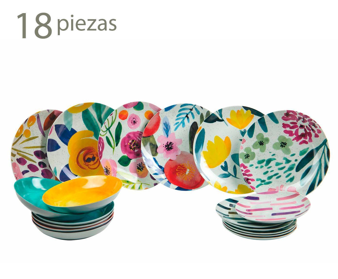 Vajilla En Porcelana New Acquarello - 18 Piezas