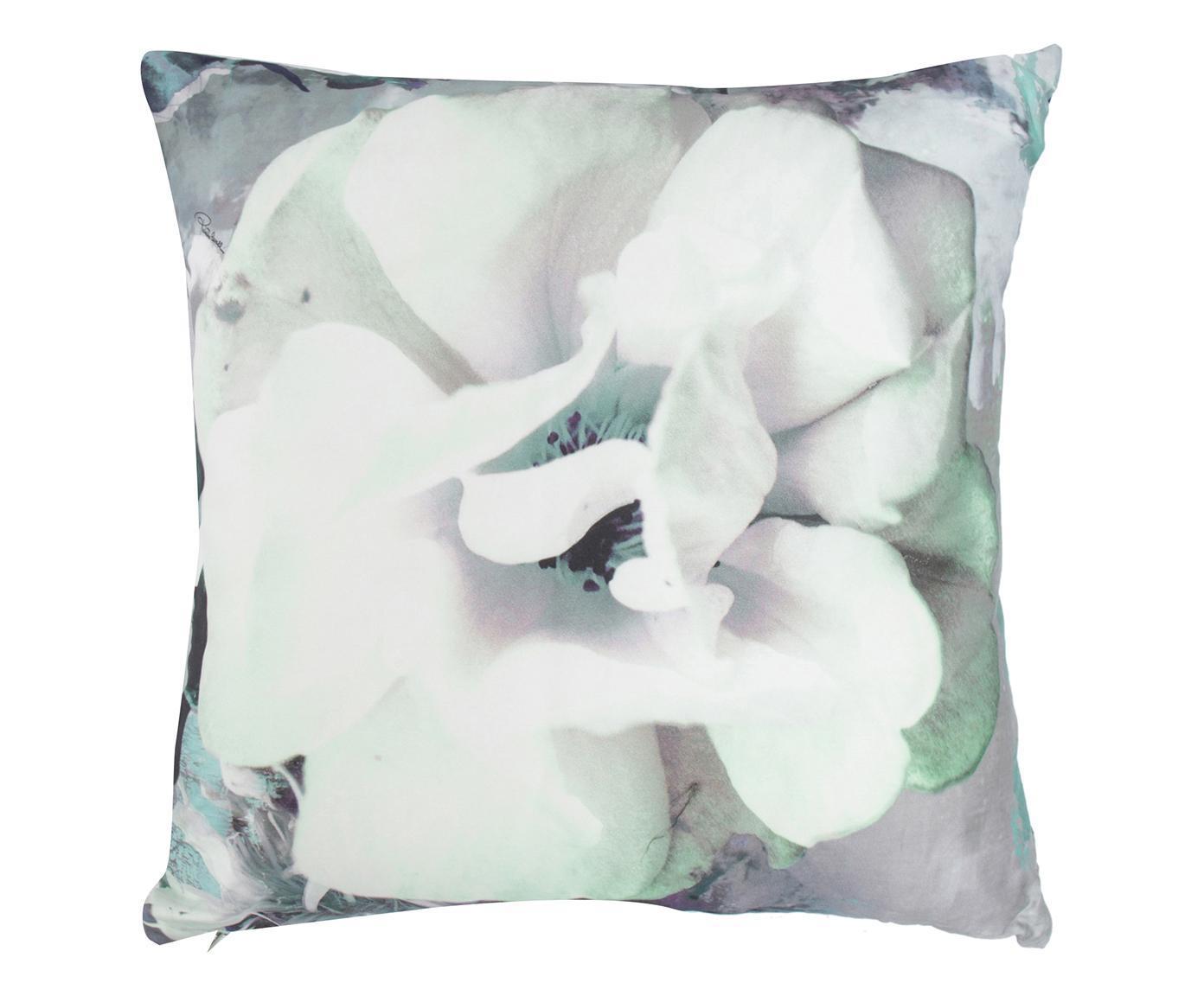 Cuscino arredo in seta Dark Flower acqua, 60x60 cm
