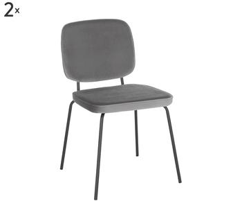 Set de 2 sillas tapizadas en terciopelo Jasper
