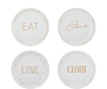 Set 4 piatti da colazione in porcellana Glimmer