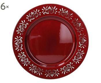 Set di 6 sottopiatti Kristal rosso