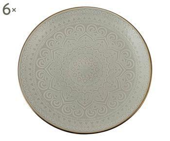 Set di 6 piatti piani Arabesque grigio