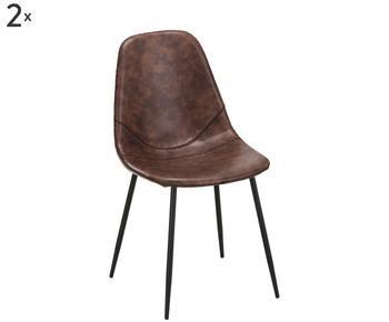 Set van 2 kunstleer-gestofeerde stoelen Linus