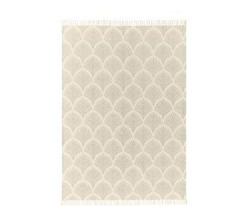 Alfombra de tejido plano de algodón con flecos Klara, 120 x 180 cm